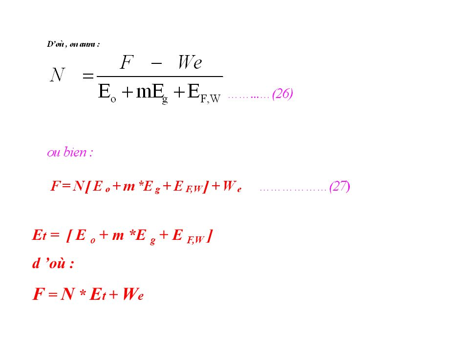 Et = [ E o + m *E g + E F,W ] d 'où : F = N * Et + We